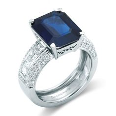 Rosendorff 'Royal Blue Collection' Precious 6.16 Carat Emerald Cut Sapphire and Diamond Ring