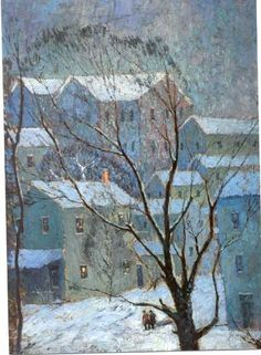 """It Snowed"", Paul Plaschke (1880-1954) On display in the entryway of the Speed Museum in Louisville, KY and was the museum's Christmas card image several years ago."