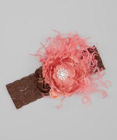 Look at this Coral & Brown Elana Headband on #zulily today!