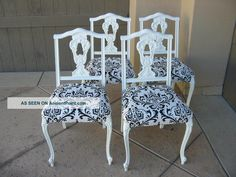 Set Of Four Vintage French Provincial Black And White Damask Dining Room Chairs Post-1950 photo