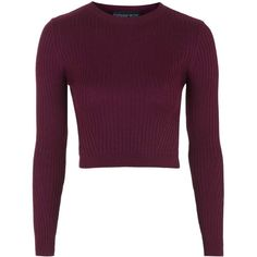 TOPSHOP PETITE Ribbed Cropped Jumper (€40) ❤ liked on Polyvore featuring tops, sweaters, berry red, petite, cropped sweater, red sweater, red cropped sweater, rib sweater en petite tops