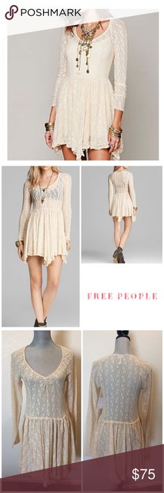 Free People Lacey Dress Free People's dreamy slip dress casts a style spell with sheer enchanting lace and a cascading pleated skirt, creating a bewitching, day-to-dark wardrobe essential. V neck, long sleeves, pleated skirt, asymmetric hem, pullover style Nylon/spandex Machine wash Free People Dresses
