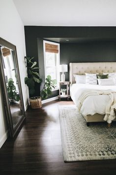 Three Ways to Easily Transform a Bedroom (Within the Grove) Master Bedroom Design, Bedroom Inspo, Dream Bedroom, Home Decor Bedroom, Modern Bedroom, Bedroom Ideas, Dark Cozy Bedroom, Master Bedrooms, Dark Bedroom Walls