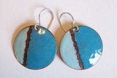 Copper Enamel Earrings Round Blue and Aqua by EllianneEnamels, $30.00