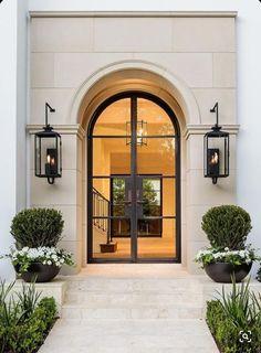 Iron Front Door, Double Front Doors, Front Door Entrance, Door Entryway, Glass Front Door, House Entrance, Front Entry, Arched Front Door, Black Front Doors