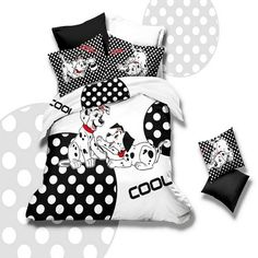 Black and White Spotted Dog( Dalmatian ) Print Cartoon Animal Hippie Style Personalized Kids 100% Cotton Damask Twin, Full Size Bedding Sets