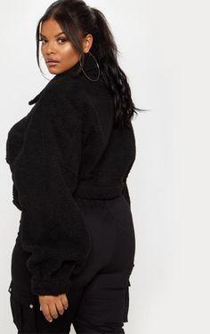 Plus Black Cropped Borg Trucker Jacket Borg Jacket, Fashion Nova Curve, Beautiful Black Women, Beautiful Ladies, Curvy Girl Outfits, Black Women Fashion, Event Dresses, Black Models, Women's Fashion Dresses