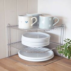 Lakeland Chrome Corner 2 Tier Plate Rack Stand (Holds Plates up to Kitchen Organisation, Organisation Hacks, Organization, Organizing Tips, Plate Storage, Plate Racks, Diy Kitchen, Kitchen Storage, Kitchen Ideas