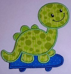 Skating Dinosaur applique iron on or sew by UniqueEmbroideries4U