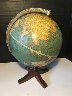 Vintage Cram 039 s Universal Terrestrial Globe 10 1 2 034 Wood Base   eBay