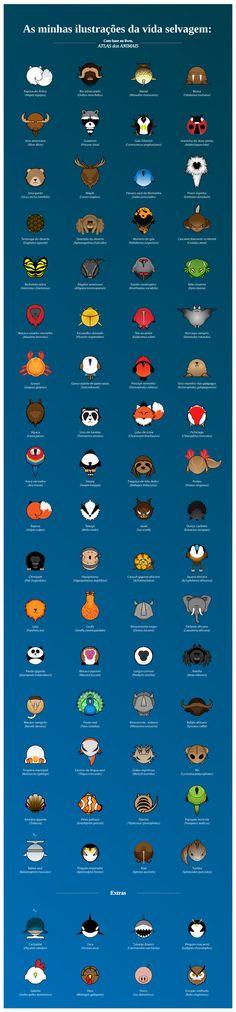 Ilustrações de Animais by Fábio Madeira, via Behance