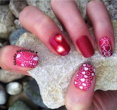 DRK-A, PUEEN 41 & 43 : Valentines Manicure dedicated to LILLIBIT'S NAIL ART WORLD http://ladynailpolishnathalie.blogspot.ch/2014/02/valentines-manicure-stamped-with-drk.html