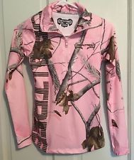 Realtree Women's Size Small Pink Camo Half Zip Pullover Or With Thumb Holes