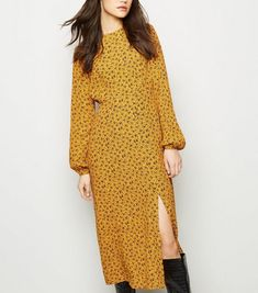 Discover the latest trends at New Look. Yellow Midi Dress, Celebrity Names, Long Sleeve Midi Dress, New Dress, New Look, Mustard, Latest Trends, Fitness Models, Casual
