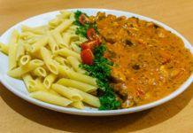 Toszkán csirke, fenséges gombás, sajtos finomság, első kóstolásra kedvenc lett Penne, Thai Red Curry, Food And Drink, Ethnic Recipes, Pens