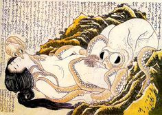 The Dream of the Fishermans Wife is an erotic woodcut made by the Japanese artist Katsushika Hokusai around 1820 . It is considered the first instance of tentacle eroticism and shows a woman entwined sexually with a pair of octopuses, the smaller of which kisses her while the larger one performs cunnilingus.