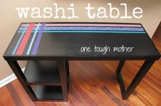 DIY Washi Tape Table by One Tough Mother - Final Part to the Family Command Center
