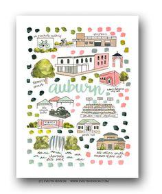 Auburn Map Print by Evelyn Henson