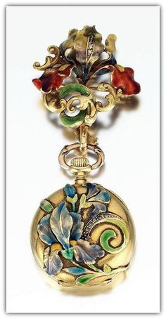 18k yellow gold case and holding brooch in Art Nouveau design, decorated with shaded enameling and rose cut diamonds.