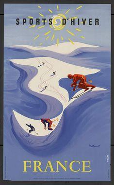 Sports d'hiver - France Bernard VILLEMOT 1954, Paris Lithographie  N° inv. 87-01-027 Collections Département de la Haute-Savoie
