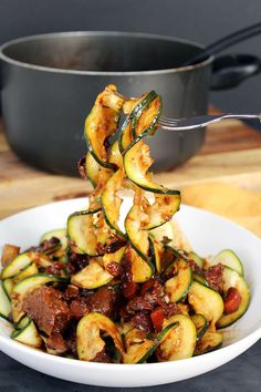 Hearty & Healthy Beef Stew with Zucchini Noodles -low carb - To reduce the carbs even more, leave out the carrots or reduce it to one carrot.