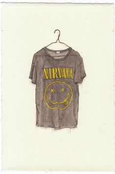 NEW/ORIGINAL Watercolor Illustration - Nirvana Grunge Concert T-Shirt. $80.00, via Etsy.