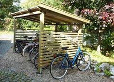 Bildresultat för cykelskjul House Yard, House Front, Outdoor Bike Storage, Bike Shelter, Bike Cover, Pergola, Bike Shed, Garden Equipment, Fenced In Yard