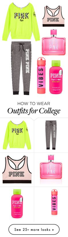 """""""good vibes only x"""" by darcyneale on Polyvore featuring Victoria's Secret and Victoria's Secret PINK"""