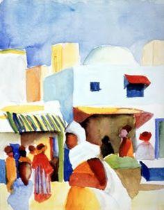 August Macke - The Tunisian Journey, 1914. http://chasingtailfeathers.tumblr.com/post/30807979423