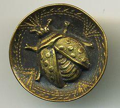 Sweet Ladybug Concave Vintage Brass Button | eBay