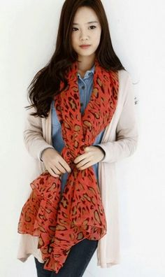 Leopard print cotton scarf