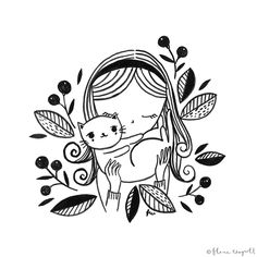 Flora Waycott - Inktober Day 12 - Yep, this is me all the time…except my cat Shima never looks this happy when I pick her up! Flora Waycott, Art Drawings, Drawings, Doodle Art, Cat Art, Cute Art, Illustration Art, Art, Cute Drawings
