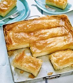 In Greece this gorgeous tart is more commonly known as galaktoboureko – layers of filo pastry enclosing a thick custard, then soaked with a lemon-spiked syrup. Lisas recipe tastes just like a Greek holiday – its a must-try recipe. Pastry Recipes, Tart Recipes, Cooking Recipes, Filo Pastry Desserts, Phyllo Dough Recipes, Pastry Dishes, Custard Desserts, Amish Recipes, Dutch Recipes
