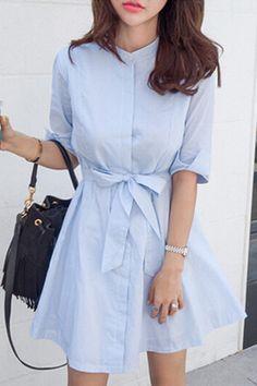 Blue Stripe Stand Neck Half Sleeve Dress LIGHT BLUE: Dresses 2016 | ZAFUL