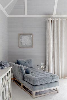 Blue gray velvet couch