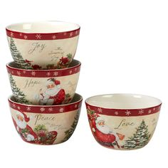 5c1c4d4fc5f 24oz 4pk Holiday Wishes Ceramic Cereal Bowls - Certified International, Red  Christmas Tree Design,