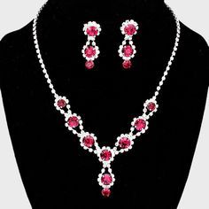 Crystal Rhinestone Necklace in Clear/Silver/Fuchsia Color with Matching Earrings