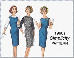 1960s Sewing Pattern - Vintage Simplicity 4605 - Misses' Jumper, Dress and Blouse - Size 12 Bust 32 - One-Piece - Sleeveless - Ruffled Neck by EightMileVintageSews on Etsy