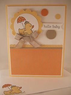 "Stampin Up ""Easy Events"" Hello Baby Handmade Card 