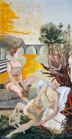 Rosa Loy Morgen, 2007, 266x139cm, Kasein auf Leinwand