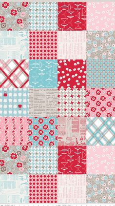 Millies Closet print in red and pink colorway...designed by Lori Holt
