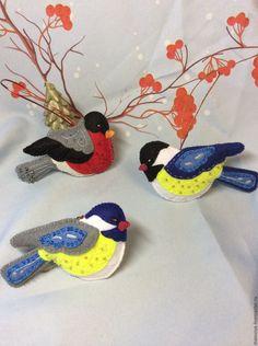 Купить Набор мягких елочных игрушек из фетра Птички - комбинированный, игрушки на елку