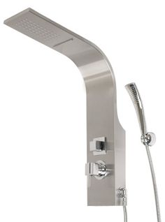 """Jordaine Thermostatic Stainless Steel Shower Panel with Handspray  Enjoy a relaxing shower with the streamlined Jordaine Thermostatic Stainless Steel Shower Panel. The smooth curves and stainless steel finish make it perfect for the contemporary bathroom.    Product Details   •  Thermostatic technology keeps shower temperature ± 1 degree Celsius.    •  Overall measurements: 8-1/4"""" L x 5-1/2"""" W (front to back) 30-1/2"""" H (± 1/2"""").    •  Rainfall showerhead measures: 3-1/2"""" L x 6-1/2"""" H (±…"""