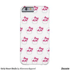 Pink and white Heart Skulls Barely There iPhone 6 Case