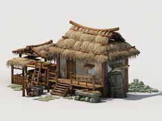 Fantasy Town, 3d Fantasy, Fantasy House, Fantasy Places, Casa Viking, Wood Frame House, House 3d Model, Thatched House, Cg Artwork