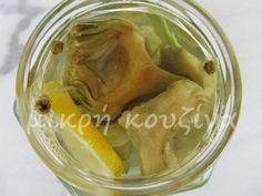 μικρή κουζίνα: Αγκινάρες τουρσί σε άλμη Pickles, Cucumber, Cooking, Recipe Ideas, Sweet, Recipes, Food, Kitchen, Candy