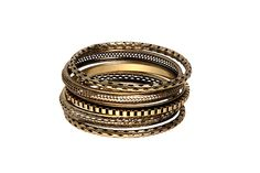 Black and gold stacked bangle set