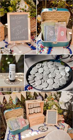 1960s theme wedding; DIY projects for the program table (dictionary paper buttons, zine style wedding programs, music sheet hanging banners)