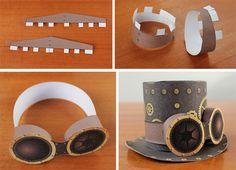Steampunk DIY Top Hat: Quick printable paper craft - No sew! Steampunk Top Hat, Steampunk Crafts, Steampunk Goggles, Steampunk Wedding, Steampunk Clothing, Steampunk Fashion, Steam Punk Diy, Crazy Hat Day, Crazy Hats