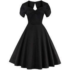Vintage Cut Out Swing Pin Up Flare Dress ($22) ❤ liked on Polyvore featuring dresses, vintage dresses, pinup dresses, cut out flare dress, flared dress and flare dresses